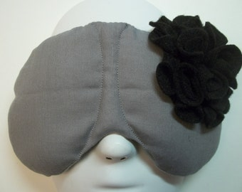 Herbal Hot/Cold Therapy Sleep Mask Gray with Black Felt Flower
