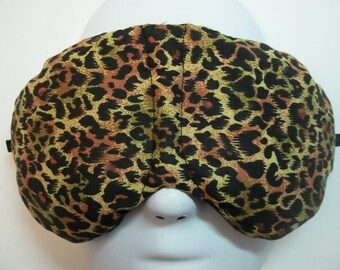 Herbal Hot/Cold Therapy Sleep Mask with adjustable and removeable strap Leopard Print