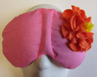 Herbal Hot/Cold Therapy Sleep Mask Rose Pink with Orange Felt Flower