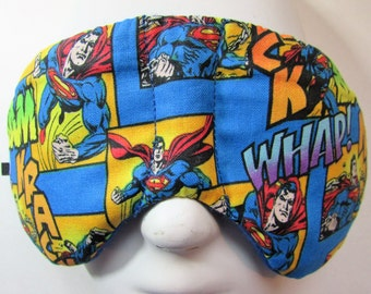 Herbal Hot/Cold Therapy Child Size Sleep Mask with adjustable and removable strap Superman