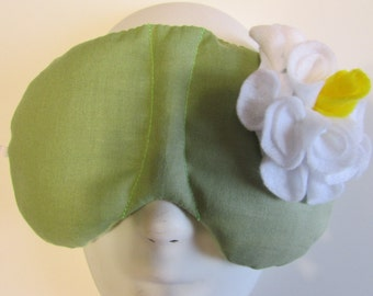 Herbal Hot/Cold Therapy Sleep Mask Sage Green with White Felt Flower