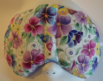 Herbal Hot/Cold Therapy Sleep Mask with adjustable and removable strap Pretty Pansies