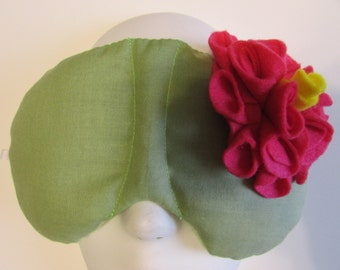 Herbal Hot/Cold Therapy Sleep Mask Sage Green with Dark Pink Felt Flower