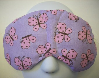 Herbal Hot/Cold Therapy Sleep Mask Purple with Pink Butterflies with adjustable and removeable strap