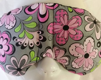 Herbal Hot/Cold Therapy Sleep Mask with adjustable and removable strap Pink Flowers