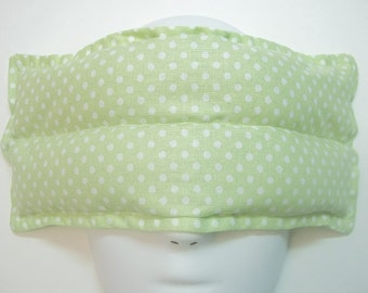 Herbal Hot/Cold Aromatherapy Therapy Eye Pillow Polka Dots Green