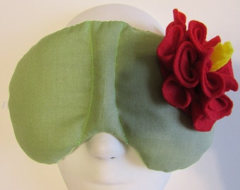 Herbal Hot/Cold Therapy Sleep Mask Sage Green with Red Felt Flower