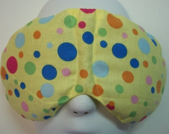 Herbal Hot/Cold Therapy Sleep Mask with adjustable and removeable strap Multi Colored Polka Dots on Yellow
