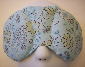 Herbal Hot/Cold Therapy Sleep Mask Dainty Blue Floral with adjustable and removeable strap