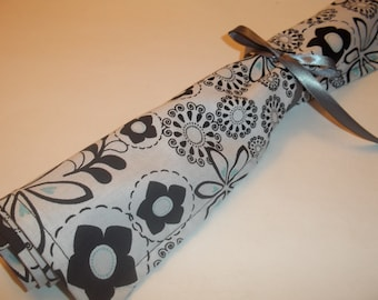 Lavender Drawer Liner Black and White Floral with a touch of Aqua