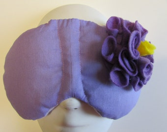Herbal Hot/Cold Therapy Sleep Mask Purple Lilac with Medium Purple Felt Flower