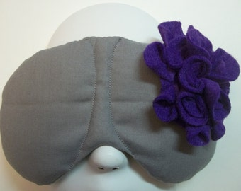 Herbal Hot/Cold Therapy Sleep Mask Gray with Purple Felt Flower