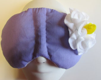 Herbal Hot/Cold Therapy Sleep Mask Purple Lilac with White Felt Flower
