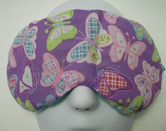 Herbal Hot/Cold Therapy Sleep Mask Pretty Butterflies on Purple with adjustable and removeable strap