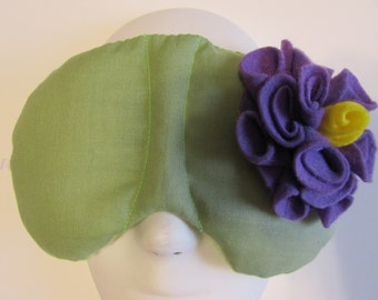Herbal Hot/Cold Therapy Sleep Mask Sage Green with Light Purple Felt Flower