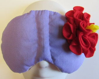 Herbal Hot/Cold Therapy Sleep Mask Purple Lilac with Red Felt Flower