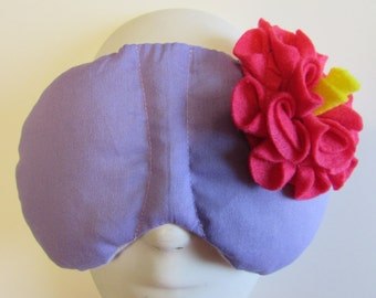 Herbal Hot/Cold Therapy Sleep Mask Purple Lilac with Dark Pink Felt Flower