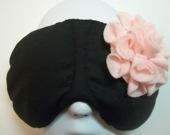 Herbal Hot/Cold Therapy Sleep Mask Black and Pink Felt Flower