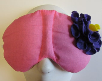 Herbal Hot/Cold Therapy Sleep Mask Rose Pink with Dark Purple Felt Flower