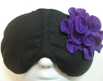 Herbal Hot/Cold Therapy Sleep Mask Black and Purple Felt Flower
