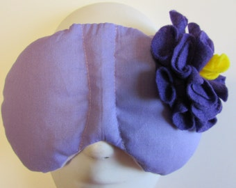 Herbal Hot/Cold Therapy Sleep Mask Purple Lilac with Dark Purple Felt Flower