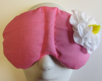 Herbal Hot/Cold Therapy Sleep Mask Rose Pink with White Felt Flower