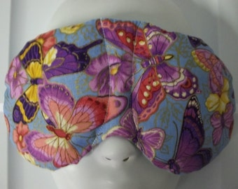 Herbal Hot/Cold Therapy Sleep Mask with adjustable and removable strap Butterflies on Blue