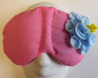 Herbal Hot/Cold Therapy Sleep Mask Rose Pink with Light Blue Felt Flower