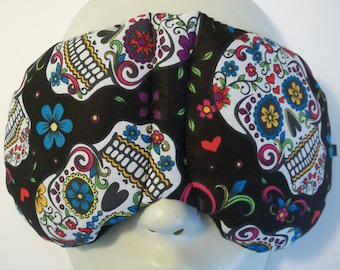 Herbal Hot/Cold Therapy Sleep Mask with adjustable and removable strap Sugar Skulls