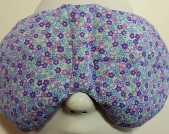 Herbal Hot/Cold Therapy Sleep Mask with adjustable and removeable strap Little Purple and Blue Flowers