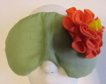 Herbal Hot/Cold Therapy Sleep Mask Sage Green with Orange Felt Flower