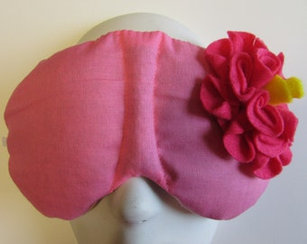 Herbal Hot/Cold Therapy Sleep Mask Rose Pink with Dark Pink Felt Flower