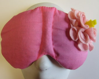 Herbal Hot/Cold Therapy Sleep Mask Rose Pink with Light Pink Felt Flower
