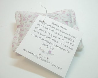 Toasty Hand Pocket Warmers White with pink vine