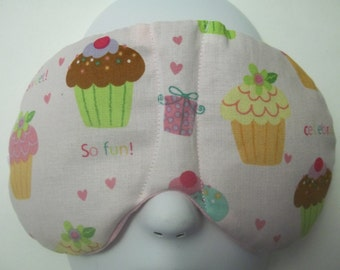 Herbal Hot/Cold Therapy Sleep Mask Cupcake Fun with adjustable and removeable strap