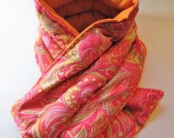 LONG Hot/Cold Therapy Neck Wrap Orange Paisley