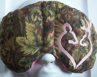 Herbal Hot/Cold Therapy Sleep Mask with adjustable and removable strap Camo Pink Deer