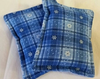 Toasty Flannel Hand Pocket Warmers Blue Plaid with Snowflakes