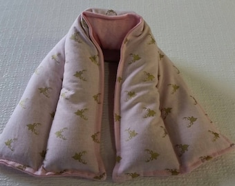 Hot/ Cold Herbal Therapy Neck, Knee and Ankle Wrap Gold Deer Heads on Pink
