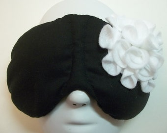 Herbal Hot/Cold Therapy Sleep Mask Black and Blue Felt Flower