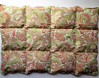 Hot/Cold Herbal Therapy Flax Seed Lumbar Pack Green and Pink Paisley