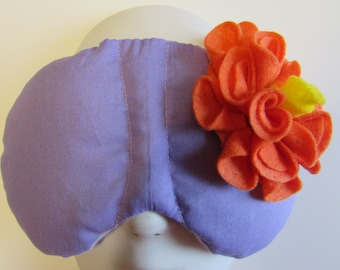 Herbal Hot/Cold Therapy Sleep Mask Purple Lilac with Orange Felt Flower