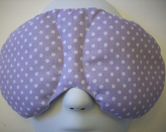 Herbal Hot/Cold Therapy Sleep Mask with adjustable and removable strap Purple Polka Dots