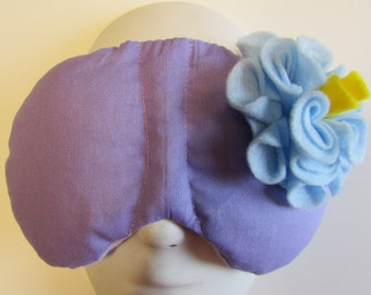 Herbal Hot/Cold Therapy Sleep Mask Purple Lilac with Light Blue Felt Flower