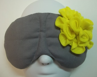 Herbal Hot/Cold Therapy Sleep Mask Gray with Yellow Felt Flower
