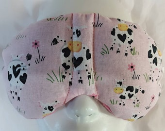Herbal Hot/Cold Therapy Sleep Mask with adjustable and removable strap Cow Love