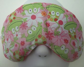 Herbal Hot/Cold Therapy Sleep Mask with adjustable and removable strap Frogs & Daisies