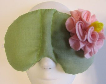 Herbal Hot/Cold Therapy Sleep Mask Sage Green with Light Pink Felt Flower
