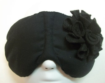 Herbal Hot/Cold Therapy Sleep Mask Black and Black Felt Flower