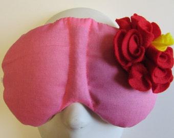 Herbal Hot/Cold Therapy Sleep Mask Rose Pink with Red Felt Flower
